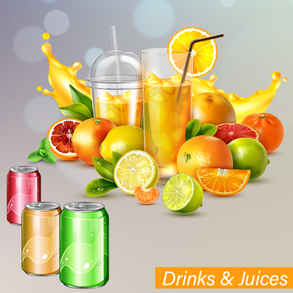 soft drink and juice